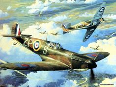 ww2 aircraft painting - Spitfires