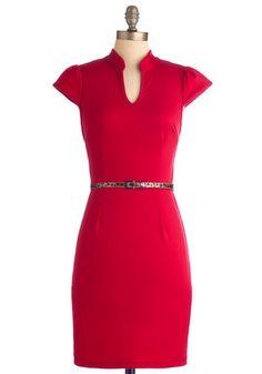 Op-Red Columnist Dress - Mid-length, Red, Solid, Animal Print, Work, Sheath / Shift, Cap Sleeves