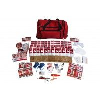 Survival Kit - Deluxe (4 Person). All items are packed securely in our Red Duffle Bag with Wheels which contains extra space available for your personal items . This kit contains the following:  Food and Water: 48- 4oz. Water Pouches, 24 - 400 Calorie Food Bars (4800 Calories), 40 Water Purification Tablets - each tablet purifies 1 liter of water  Light and Communications: 2- Rechargeable Squeeze Flashlight - 3 LED flashlight, 30 Hour Emergency Candle, 5-in-1 Survival Whistle, Box of ...