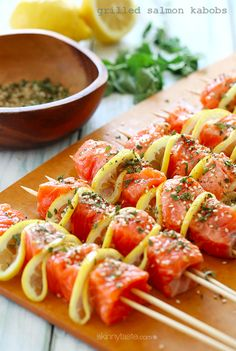 helathy barbecue idea: grilled salmon kebabs