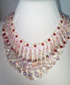 Czech glass beads in this beautiful draped loop collar necklace.
