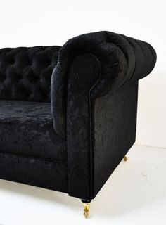 dream sofa black velvet tufted rolled arms