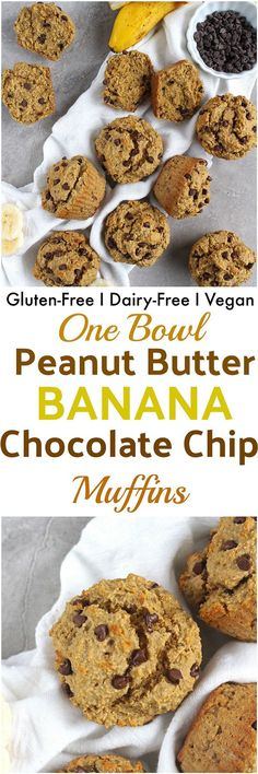 Peanut Butter Banana Chocolate Chip Muffins - Stuffed full of peanut butter, bananas and chocolate chips, these Peanut Butter Banana Chocolate Chip Muffins are gluten-free, dairy-free, vegan and free of any oil or butter!