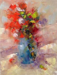 """Daily Paintworks - """"Abstracted Flowers, 9x12"""" by Ann Feldman"""