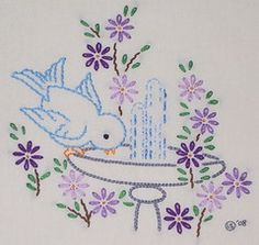 Blue birds for Andrea - stem stitch lazy daisy back stitch tiny bit of satin stitch french knots chain stitch Baby Embroidery, Embroidery Flowers Pattern, Embroidery Patterns Free, Hand Embroidery Stitches, Hand Embroidery Designs, Vintage Embroidery, Ribbon Embroidery, Cross Stitch Embroidery, Machine Embroidery