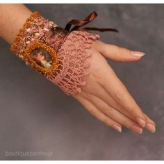 Hand Embroidered Cuff by Bonheur