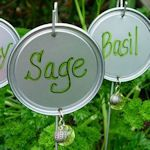 Plant markers from juice can lids, wire hangers and beads. http://inmyownstyle.com/2010/06/jewelry-for-your-garden.html  You could use dog or cat food lids or soup can lids with the pull taps. use taps to hang them