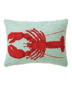 Light Blue & Red Lobster Hook Pillow