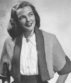 1945 Tuxedo Shortie Jacket Vintage Knitting Pattern PDF 339