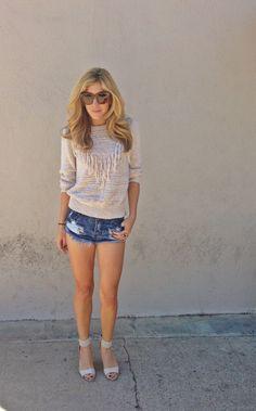 urban outfitters top, tobi denim shorts, celine sunnies.