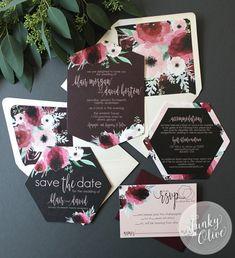 Dark Watercolor Floral Wedding Invitation Boho by TheFunkyOlive
