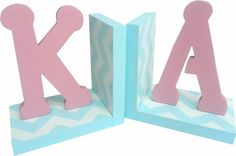 Modern Initial Chevron Bookends | Jack and Jill Boutique