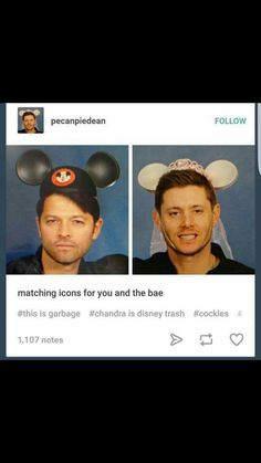 Jensen and Misha in Mickey ear hats Supernatural Destiel, Castiel, Crowley, Jared Padalecki, Misha Collins, Jensen Ackles, Spn Memes, Bubbline, Winchester Boys