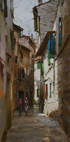 Original Painting, Old Town Walk by Dimitri Danish