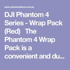DJI Phantom 4 Series - Wrap Pack (Red)   The Phantom 4 Wrap Pack is a convenient and durable waterproof cover for your Phantom 4's dedicated foam carry case. Turn it into a backpack by simply taking out the attached straps and slinging it on your back, making your wet weather travel adventures easier and safer than ever before.  The DJI Phantom 4 Series Wrap Pack comes with a full Australian warranty from DJI Australia.