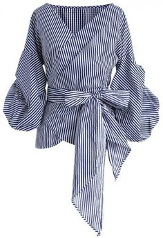 Blue & White Stripe Ruffle Sleeve Wrap Top