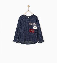 Image 1 of KNIT PLUSH SWEATER WITH PATCHES from Zara