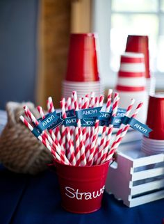 Nautical Collection Printable Straw or Cupcake by PaigeSimple, $5.00