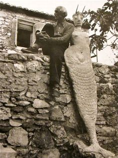 Max Ernst chillin with Mermaid, Saint-Martin d' Ardeche, France. 1939.