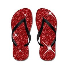 Shining Beautiful Red Ruby flip flops Adults SBlue >>> Click image for more details.