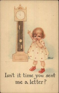 RJ Best - Cute Little Girl Wants a Letter Points at Grandfather Clock Postcard
