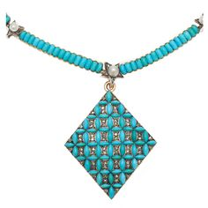 Victorian Turquoise and Diamond Pendant and Necklace | From a unique collection of vintage drop necklaces at http://www.1stdibs.com/jewelry/necklaces/drop-necklaces/