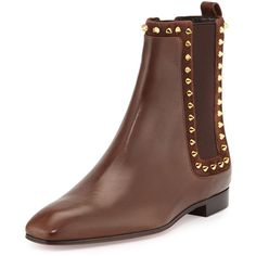 Christian Louboutin Spike Side-Gore Flat Leather Bootie (5.230 RON) ❤ liked on Polyvore featuring shoes, boots, ankle booties, ankle boots, brown, flat booties, leather booties, brown ankle booties and leather boots