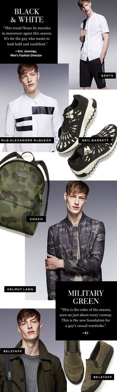 Trend Alert: The latest iteration of black/white and military inspired pieces are a fresh new take on timeless style-staples. Look for graphic stripes of #McQ, or a simple camo pack from #Coach at Saks.com. #SaksMen