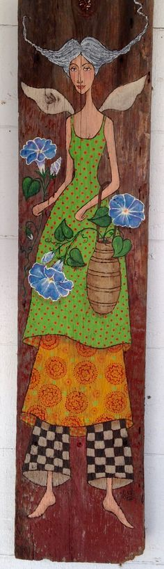 Whimsical garden angel....original acrylic painting on up-cycled barn board