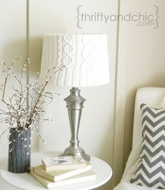 Sweater Lamp Shade -Transform any lampshade using an old sweater. Perfect to bring in texture and warmth during the colder months. Plus gives links to cute other ways to decorate with sweaters