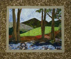 Applique Landscape Quilt Wallhanging - Bull Mountain.