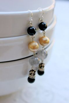 Vintage Pearl and Onyx Dangle Earrings