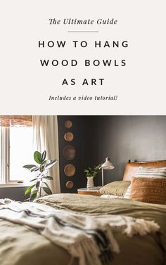 I love vintage wooden bowls but it wasn't until just recently that I thought to display the bowls together on the wall. Today, I'm sharing how to hang wood bowls on the wall to create a stunning, unique art display! #vintagecollection #woodenbowls #midcenturymodernbedroom #blackbedroom #westelmbedroom