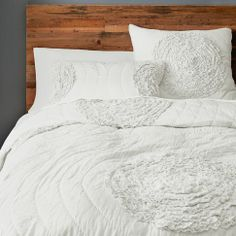 Ruffled Circles Quilt + Shams - Stone White | west elm