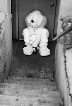 I so badly want a friend that has a bunny costume. Mainly for this reason and other bad ones to be announced down the line. Creepy Images, Creepy Pictures, Images Terrifiantes, Black And White Aesthetic, Arte Horror, Dark Photography, Animal Heads, Mood Pics, Aesthetic Grunge