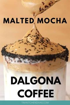 You have probably seen Dalgona Coffee all over social media, but have you tried Malted Mocha Dalgona Coffee? If you haven't,.Check out the blog for the video and step by step photos recipe of how to make Dalgona Coffee, the Malted Mocha Dalgona Coffee version .A lighter, chocolatier variation of the popular South Korean drink, Dalgona coffee. Please leave me a comment below when you try this recipe out! #dalgonacoffee,#whippedcoffee,#mocha,#dalgonarecipe,#dalgona,#coffee,#dalgonacoffeerecipe Cappuccino Recipe, Latte Recipe, Espresso Recipes, Coffee Recipes, Korean Drinks, Summer Drinks, Cold Drinks, Beverages, Happy Drink