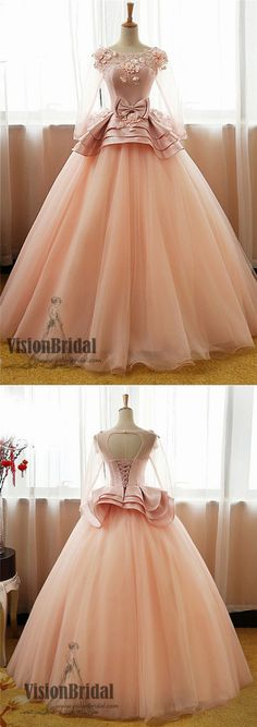 Round Neck Applique Prom Dress With Bow knot, Long Sleeves Satin Top Ball Gown Prom Dress, VB0233 #promdress