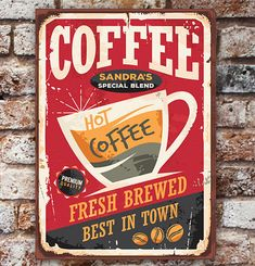 Personalized Vintage Coffee Sign Canvas Red Background