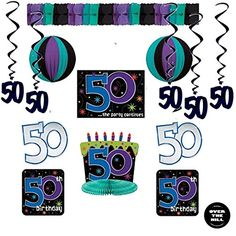 50th Birthday Party Decorations - Birthday Decorating Kit (10 pieces), 50s Black Dangling Whirls and an Over the Hill Button * See this great product.