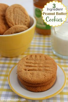 3 Ingredient Peanut Butter Cookies. These are a perfect quick and easy snack filled with pb yumminess!