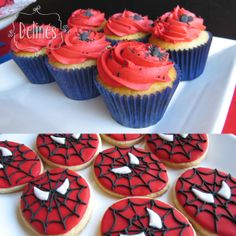 detalles cup y cookies Avengers Birthday Cakes, Superhero Birthday Party, 6th Birthday Parties, 3rd Birthday, Spiderman Theme, Superhero Cake, Lion King Cupcakes, Childrens Party, Cupcake Cakes