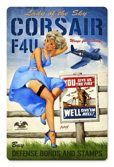 A great replica of a war bonds and stamps poster with a very cute pin up. Great for any room in the home office or man cave. This metal sign makes a