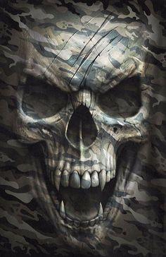 CareNFit – Happiness is Life Skull Tattoo Design, Skull Tattoos, Body Art Tattoos, Camo Tattoo, Arte Horror, Horror Art, Dark Fantasy Art, Dark Art, Airbrush Art