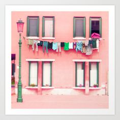 Love the pink and green! Lavanderia Fine Art Travel Photography Europe Italy Venice Murano home decor gift adorable architecture daily life coral pink Framing Photography, Fine Art Photography, Travel Photography, Paper Place, Photo Pillows, Pink Houses, Colorful Houses, Decorative Pillow Cases, Venice Italy