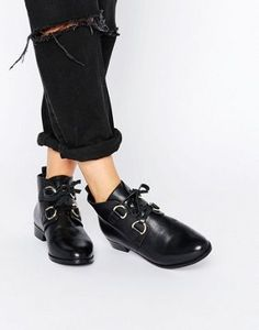 b391aa49f51 ASOS ANDREA Leather Lace Up Boots Sock Shoes