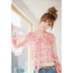 Sweet Style Tiny Floral Printed Flouncing Long Sleeves Chiffon Women's Twinset Blouse