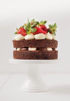 mini layer cake with mascarpone cream frosting and chocolate ganache