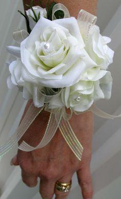 Wrist corsage ivory rose wristlet