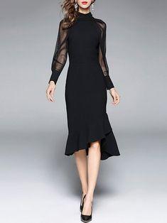 Elegant See-through Look Paneled Flounce Midi Dress
