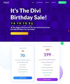 Elegant Themes Divi Birthday Sale 2020 - Get 20% OFF On Everything | Frip.in Small Business Web Design, Theme List, Web Design Tips, 20 Off, Business Website, Free Ebooks, Wordpress Theme, Everything, Legends